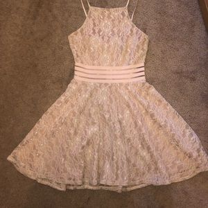 nude and pink homecoming dress